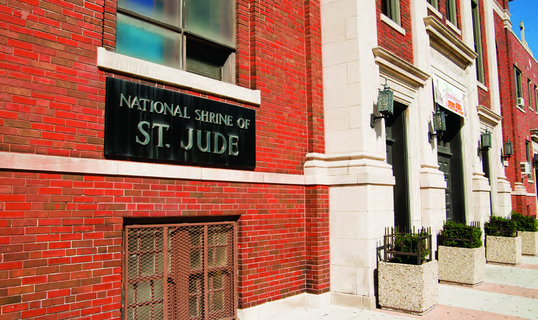 Outside the National Shrine of St. Jude
