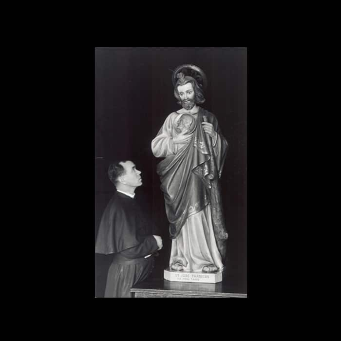 Fr. James Tort and original St. Jude statue